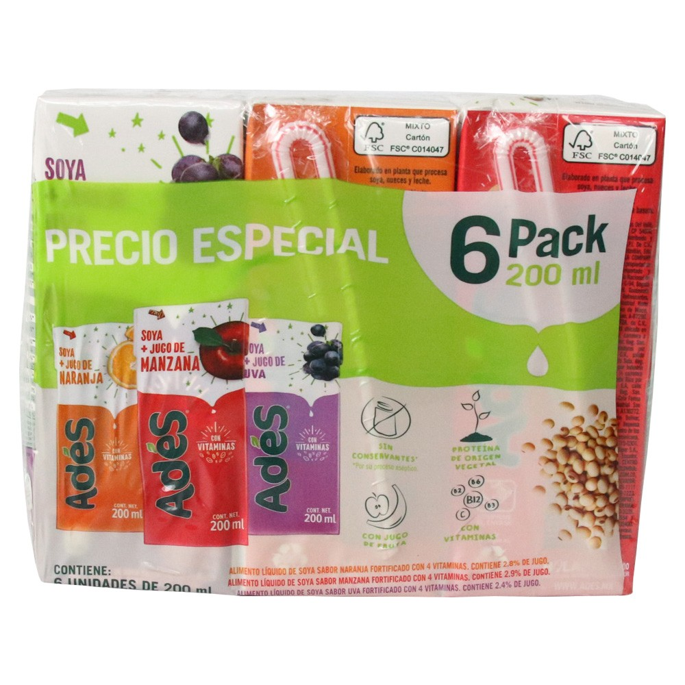 6 PACK ADES*200ML TETRA FRUTAL